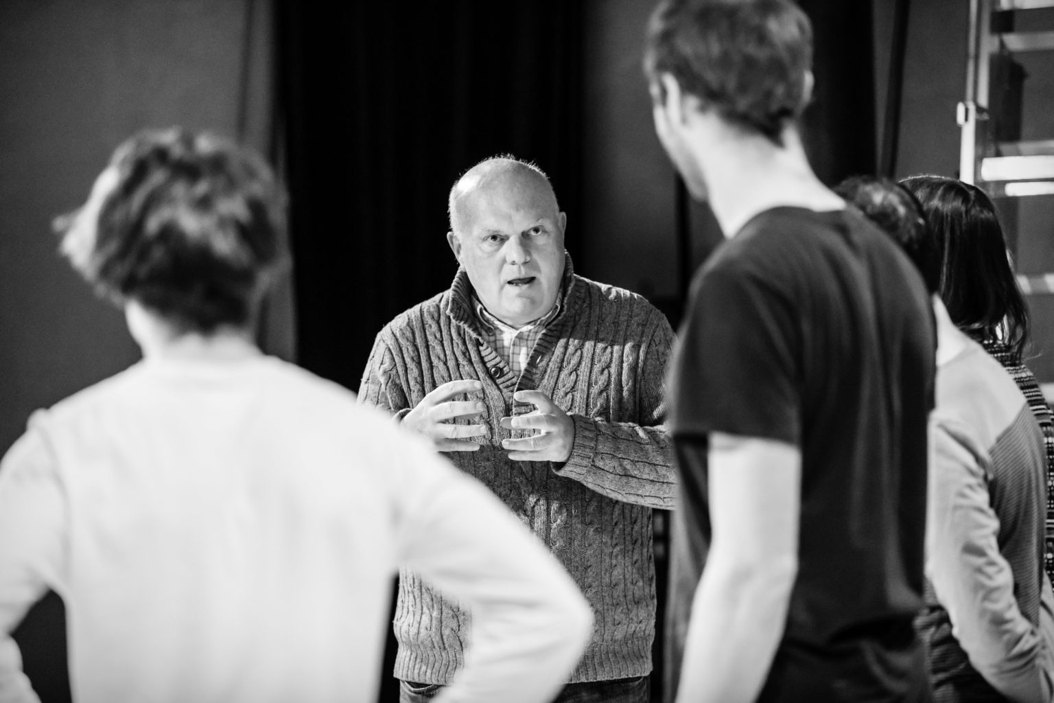 Declan Donnellan talks to Dominic Cavendish during week three of Troilus and Cressida rehearsals