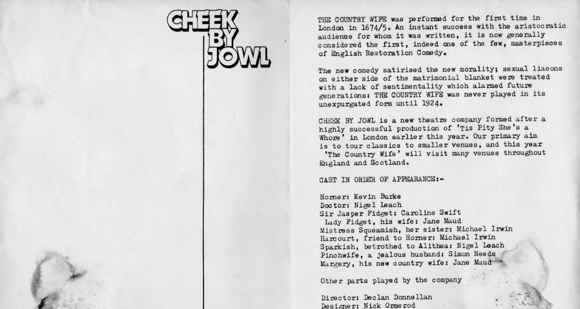Programme for Cheek by Jowl's first ever production, The Country Wife (version 1)
