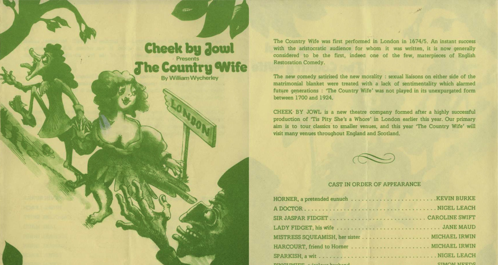 Programme for Cheek by Jowl's first production, The Country Wife (version 2)
