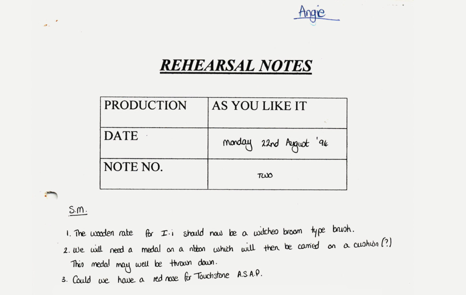 Rehearsal notes for As You Like It (1994-1995)