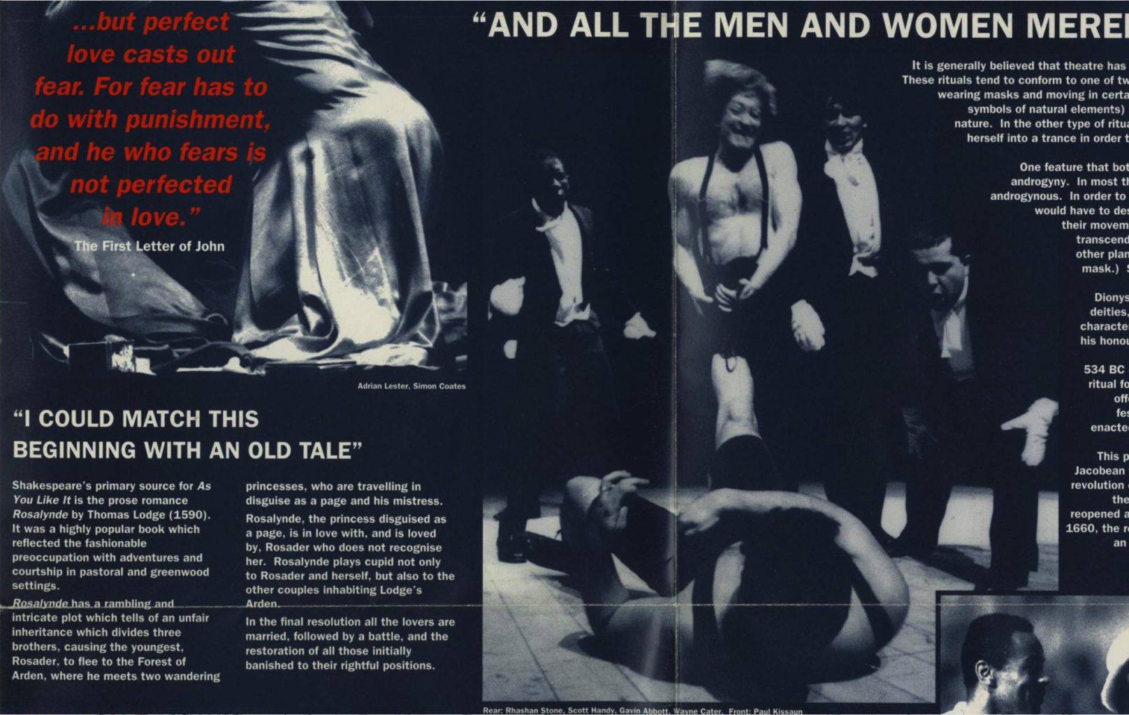 Programme for Cheek by Jowl's production of As You Like It (1994-1995)