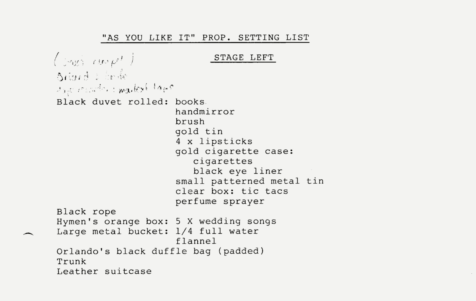 Prompt script for As You Like It (1994-1995)