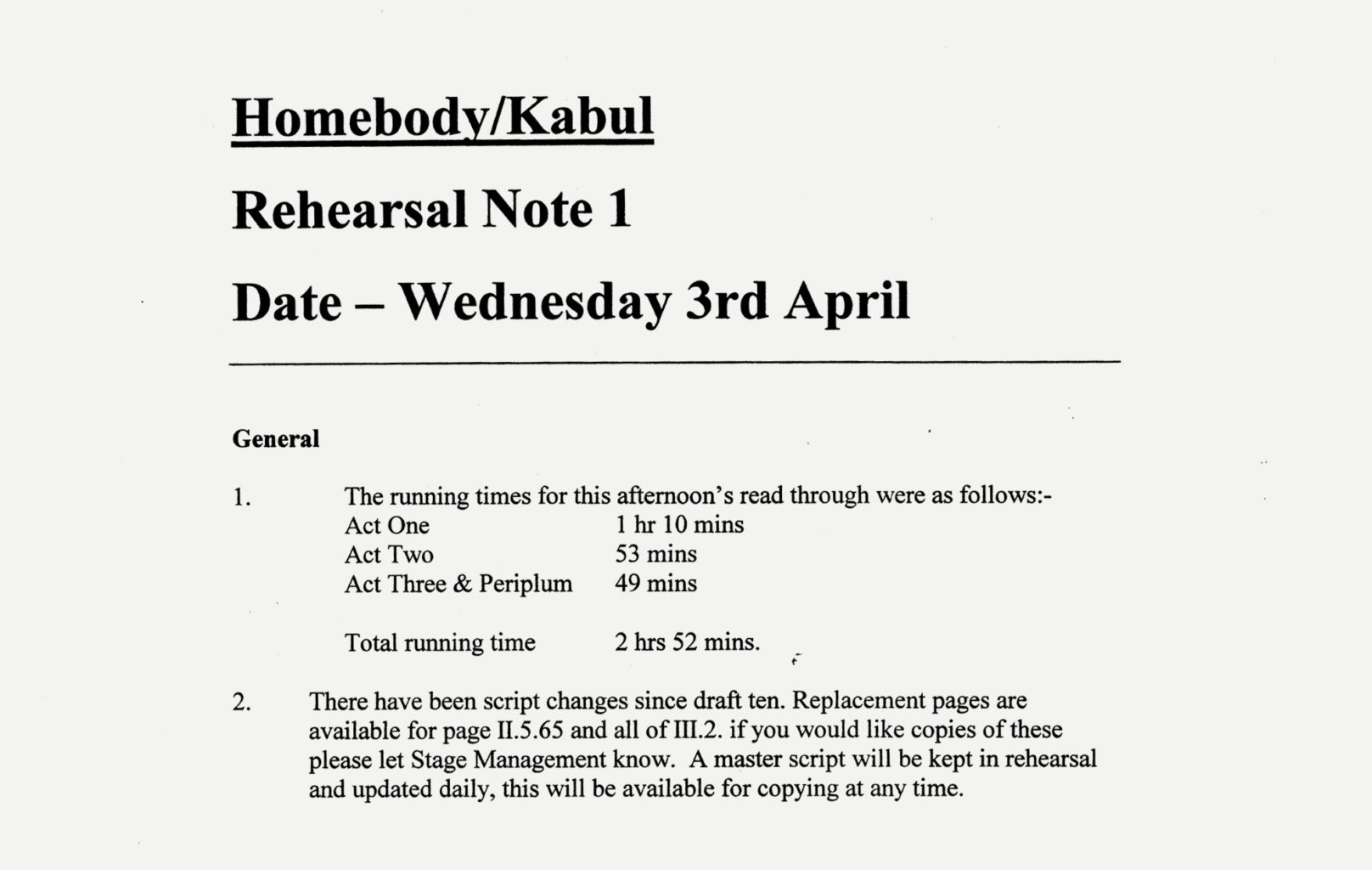 Rehearsal notes for Cheek by Jowl's production of Homebody/Kabul