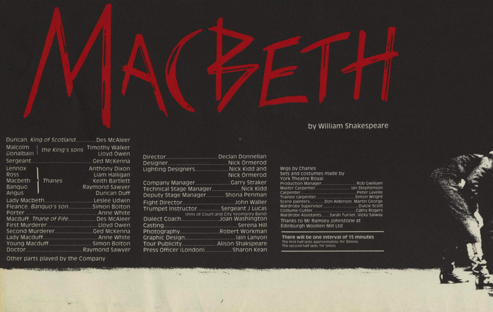 The production programme for Cheek by Jowl's 1987 – 1988 production of Macbeth