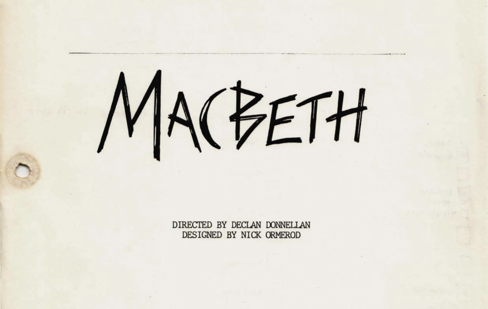 Prompt script for Macbeth (1987-1988)