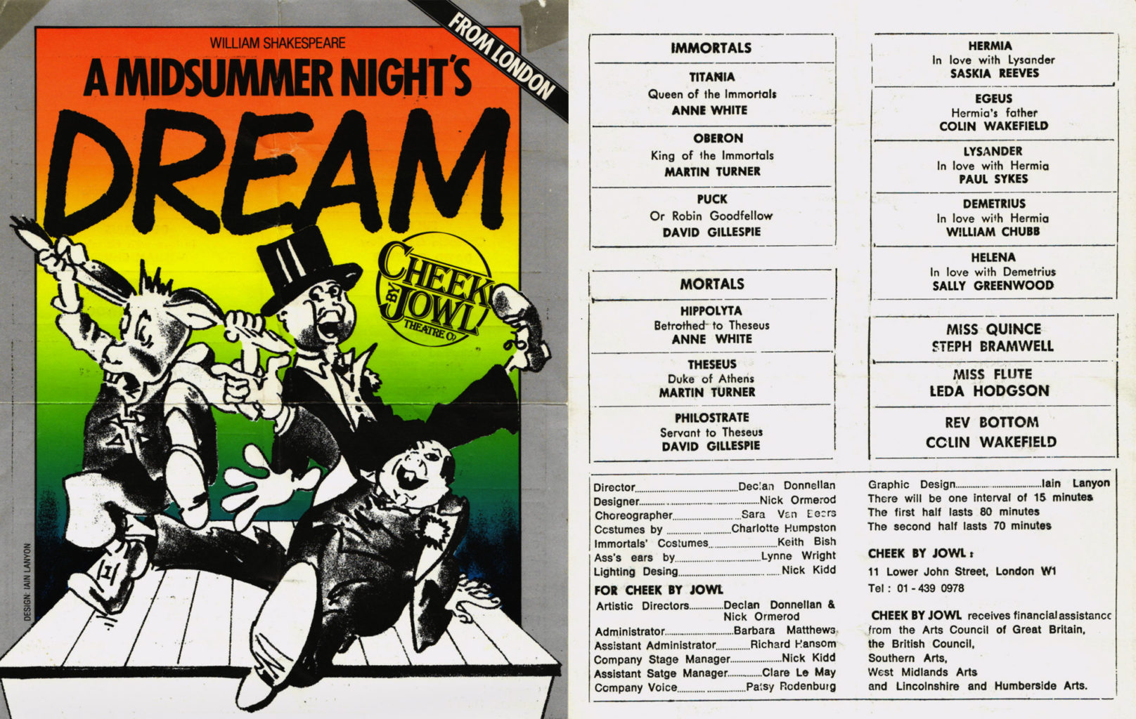 Flyer for A Midsummer Night's Dream in 1985