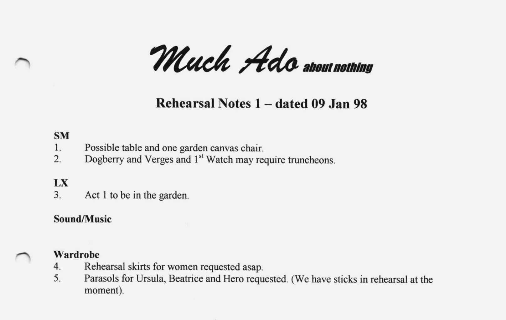 The Rehearsal notes from Cheek by Jowl's 1998 production Much Ado About Nothing
