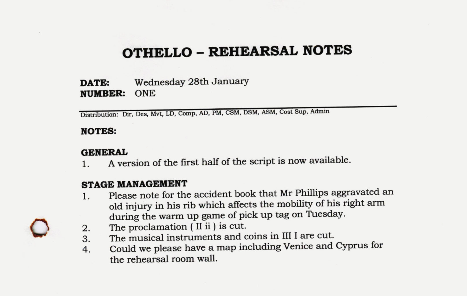Rehearsal notes from Othello rehearsals 2004