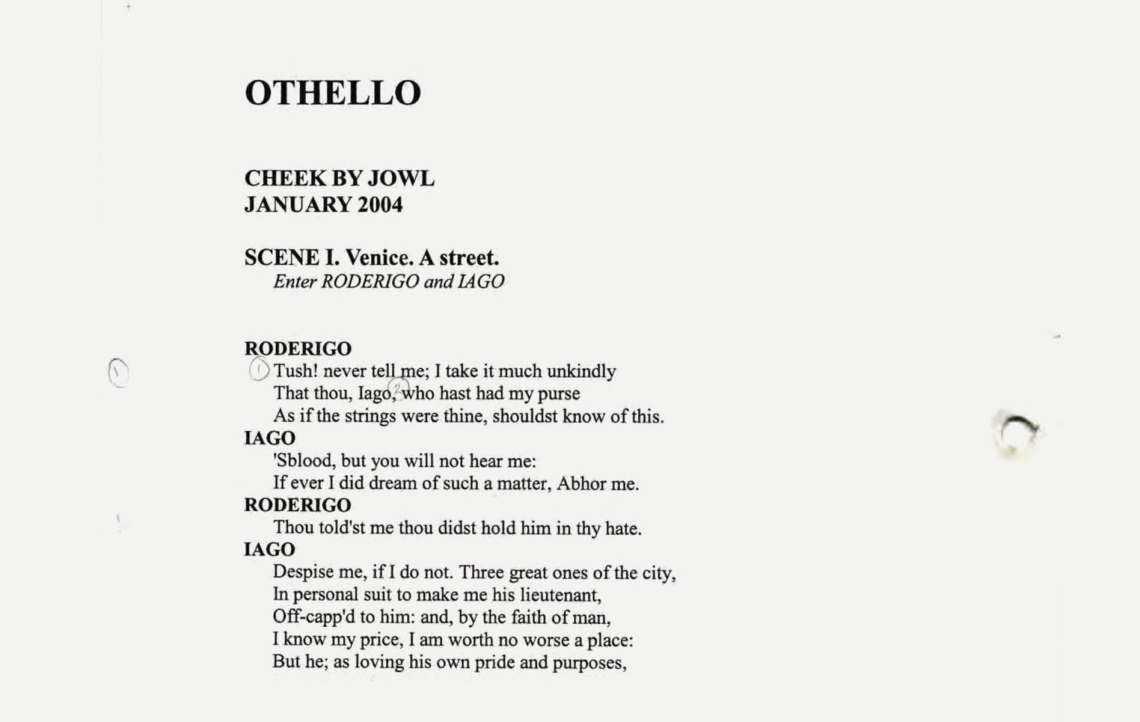 Prompt script for Cheek by Jowl's 2004 Othello