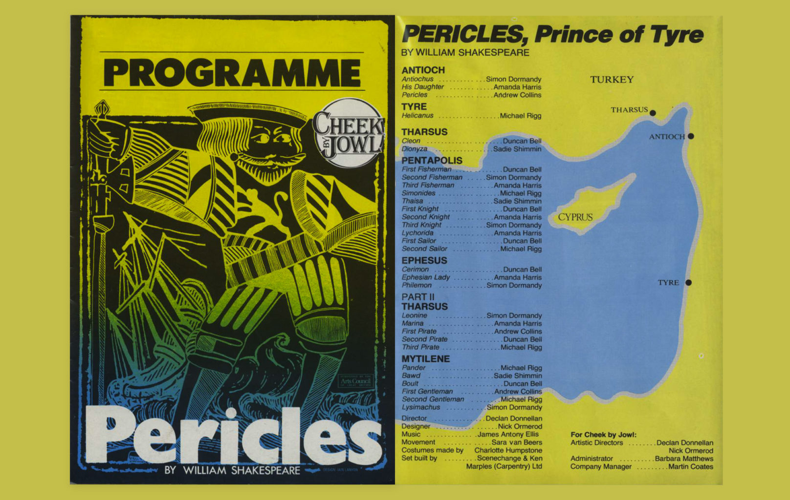 Programme for Cheek by Jowl's 1984-1985 Pericles