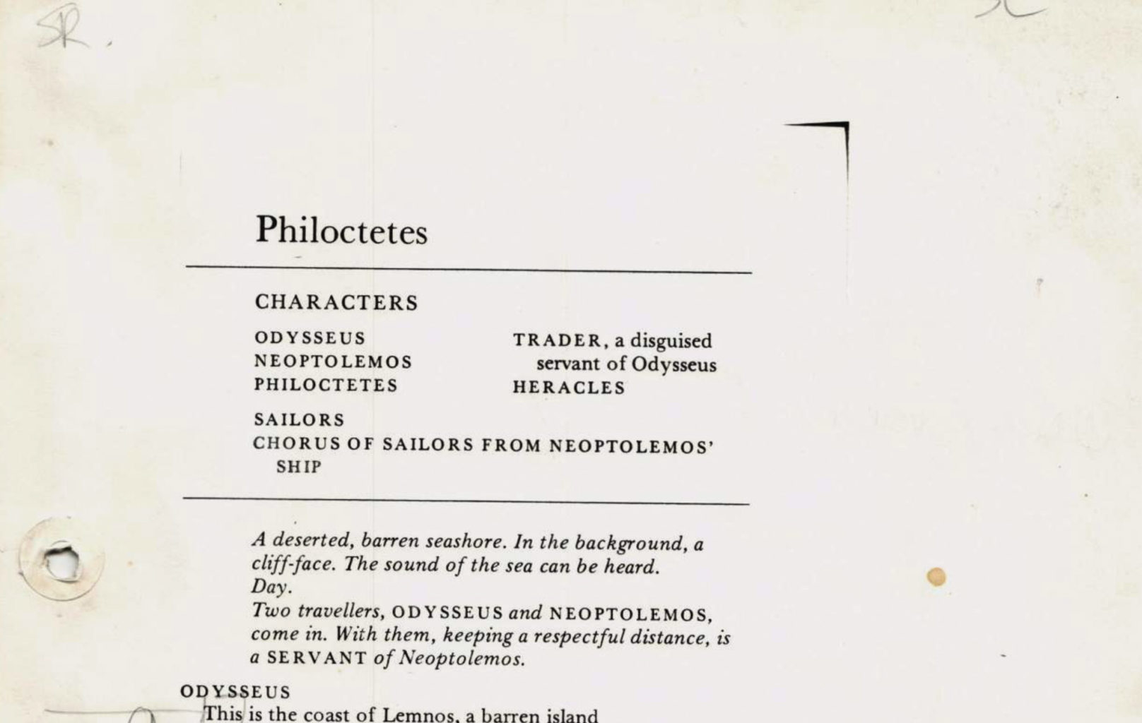 Prompt script for Philoctetes (1988-1989)