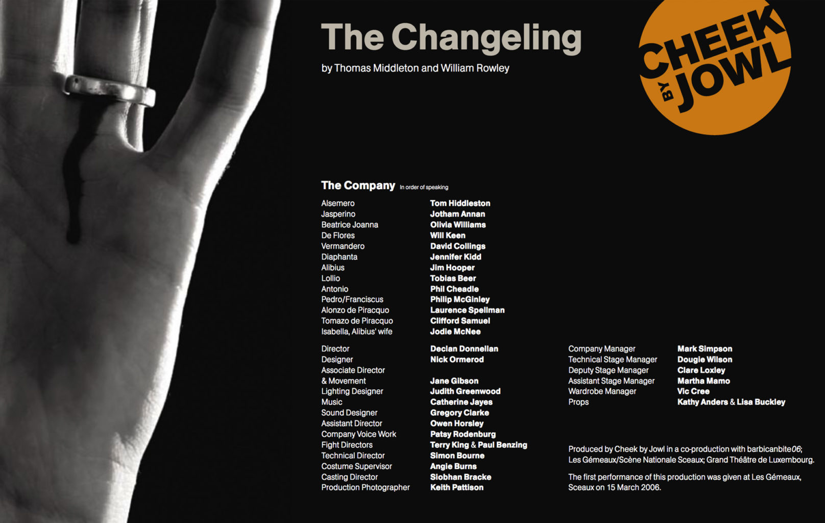 Programme for Cheek by Jowl's production of The Changeling
