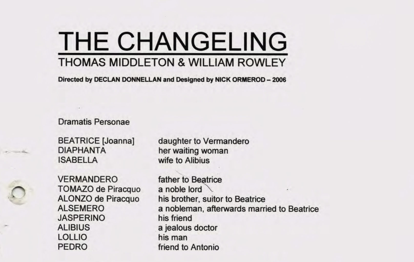 Prompt script for Cheek by Jowl's production of The Changeling