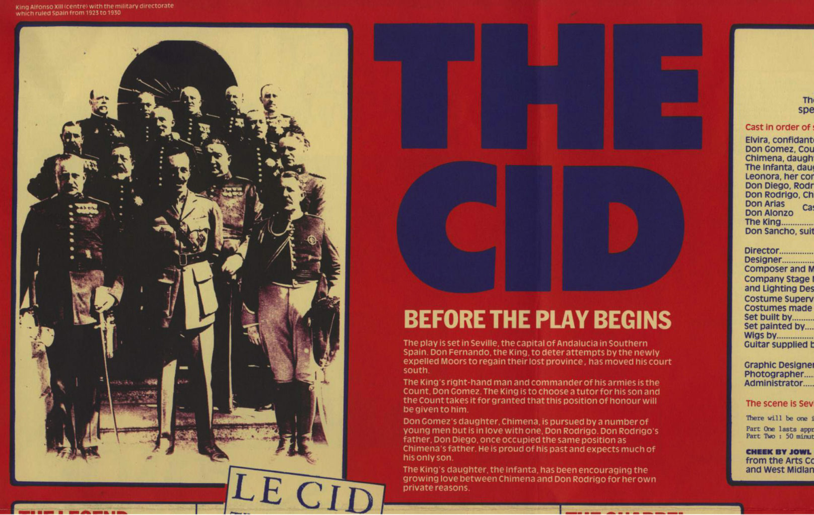 Programme for Cheek by Jowl's 1986-1987production of The Cid