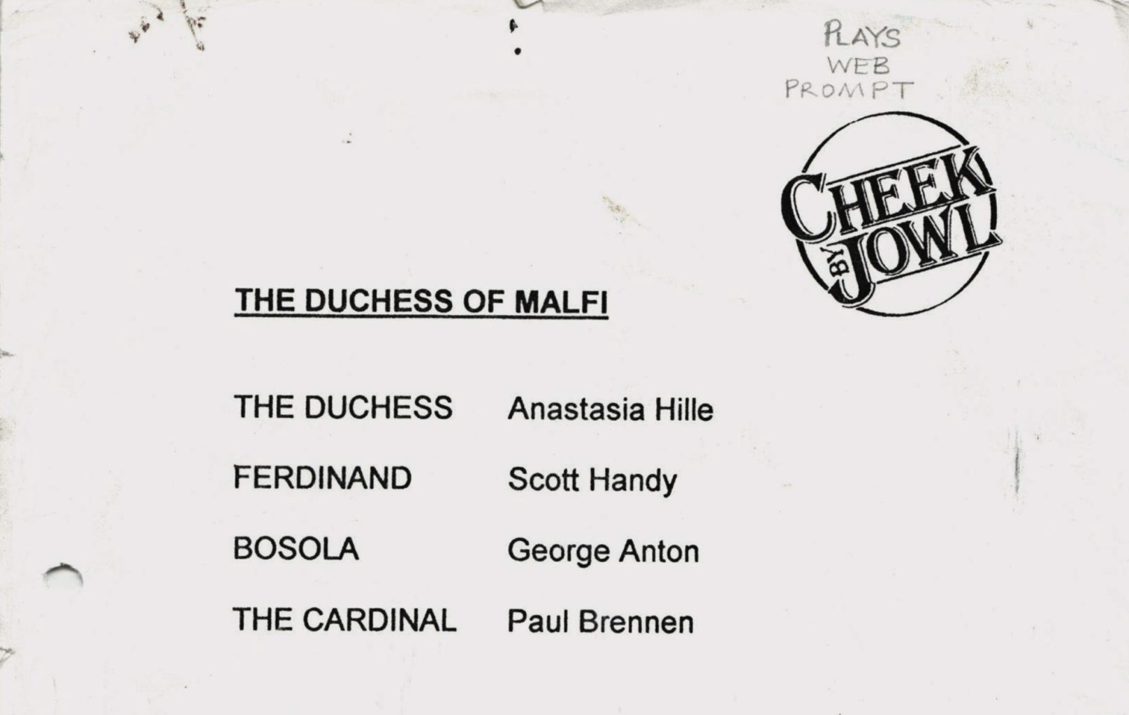 Prompt script for Cheek by Jowl's production of The Duchess of Malfi