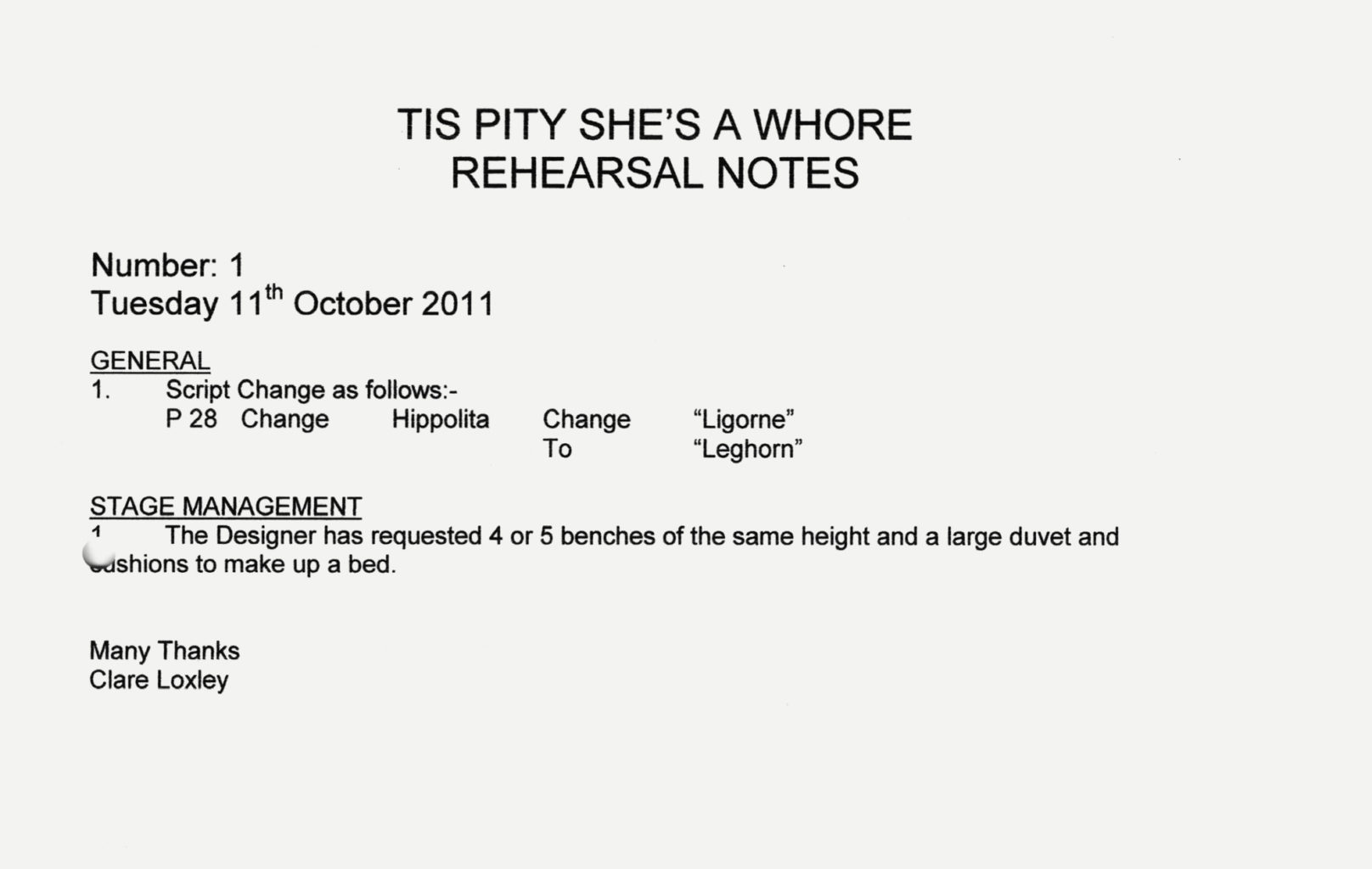 Rehearsal notes from 2011 for Cheek by Jowl's production of 'Tis Pity She's A Whore (2011–2012)