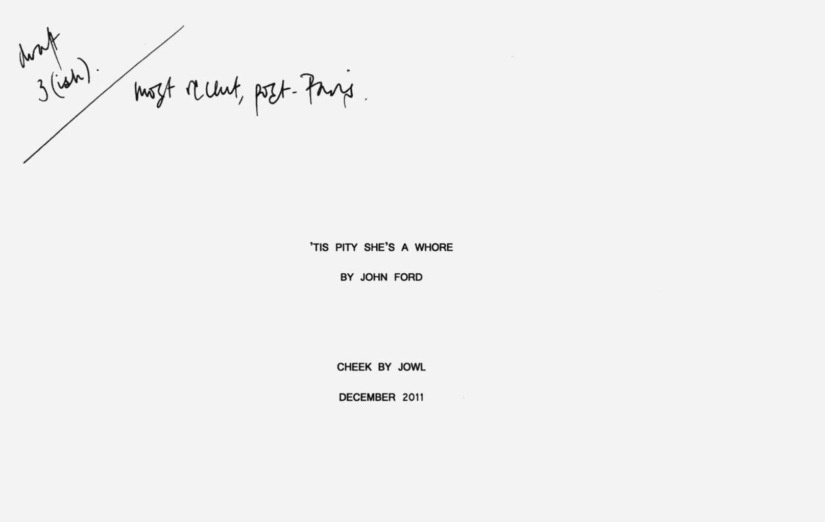 Rehearsal script for Cheek by Jowl's production of 'Tis Pity She's A Whore (2011–2012)