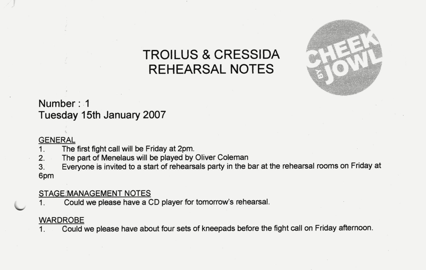 Rehearsal notes from the 2008 production of Troilus and Cressida