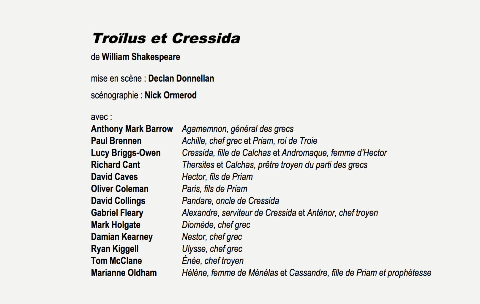 The French Les Gemeaux programme for Cheek by Jowl's 2008 production of Troilus and Cressida