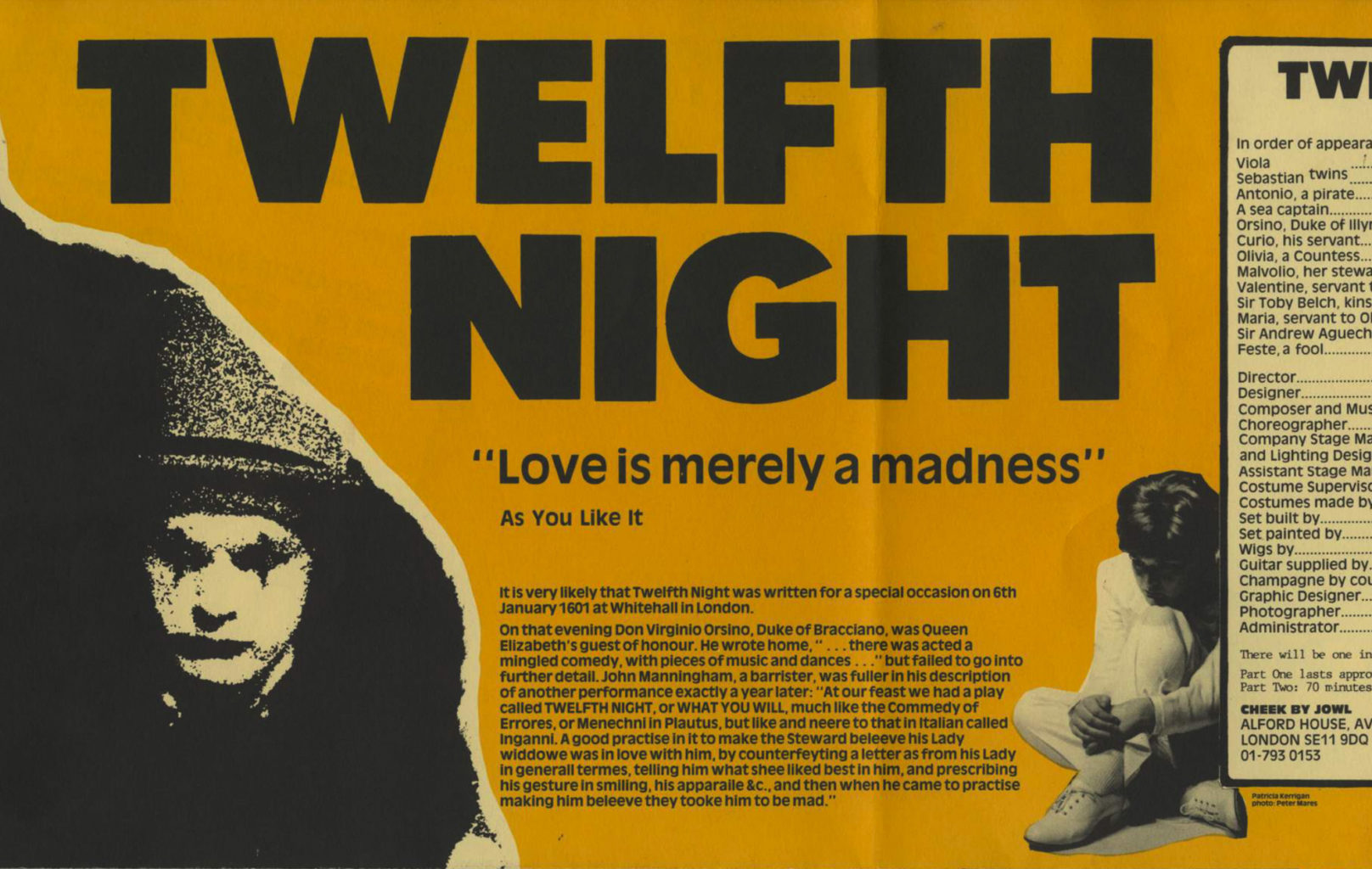 Programme for Cheek by Jowl's 1986-1987 production of Twelfth Night