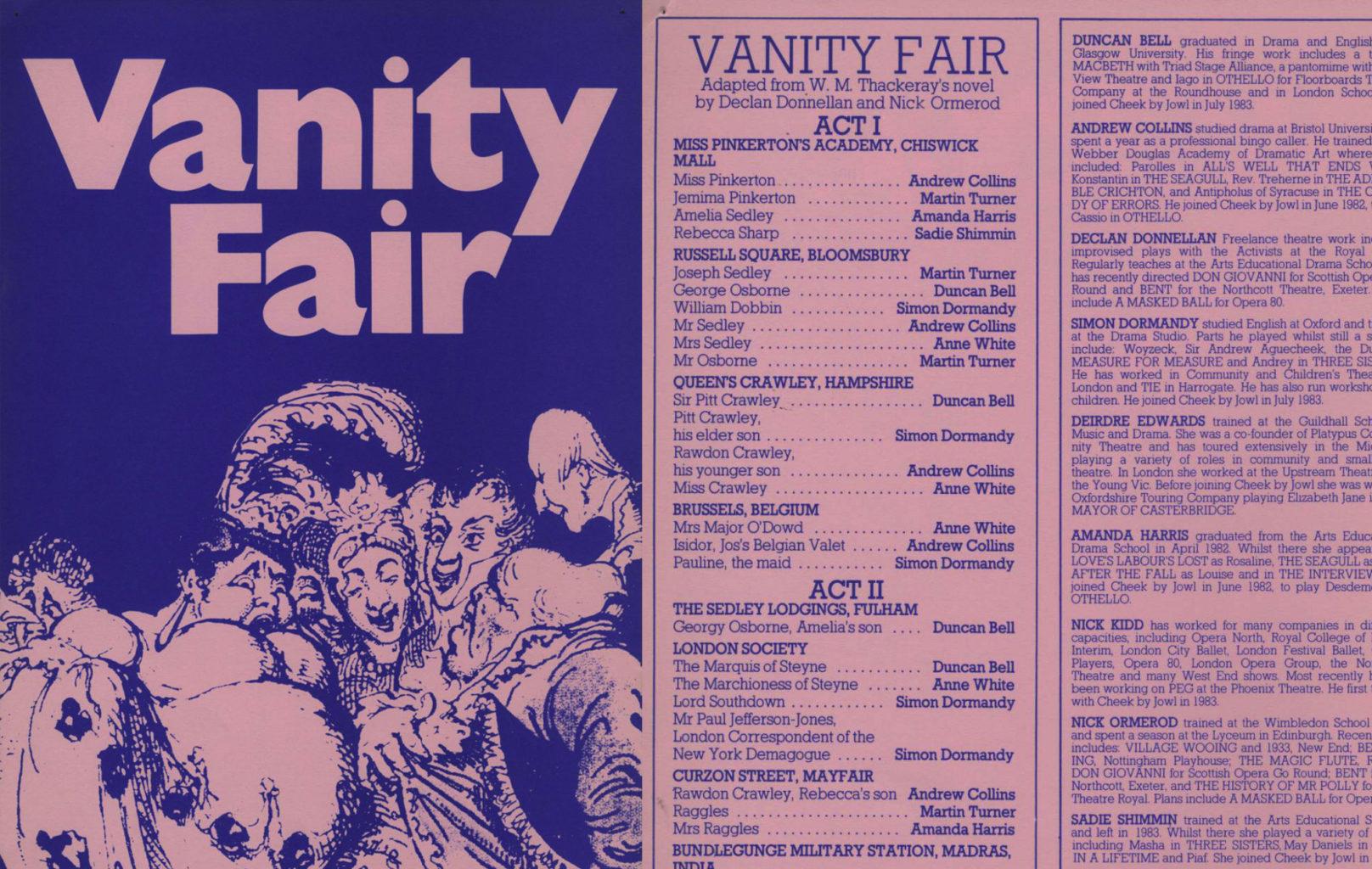 Programme for Cheek by Jowl's Vanity Fair (version 2)